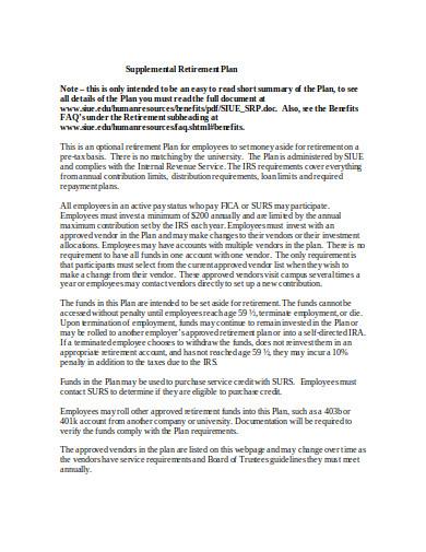 supplemental retirement plan template