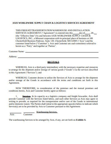 supply chain logistic service agreement