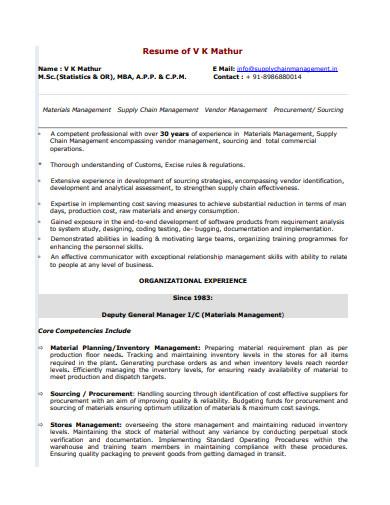 supply chain management logistics resume