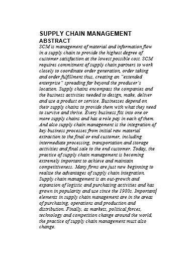 supply chain management template in doc