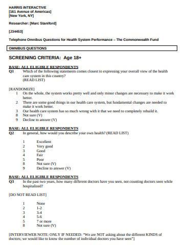 survey of public health care system questionnaire