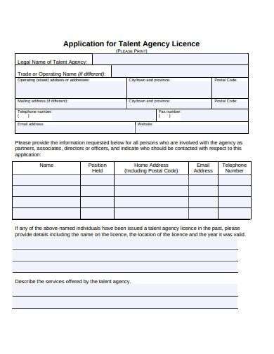 talent agency licence agreement template