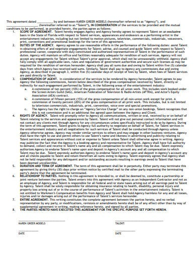 talent agency models agreement template