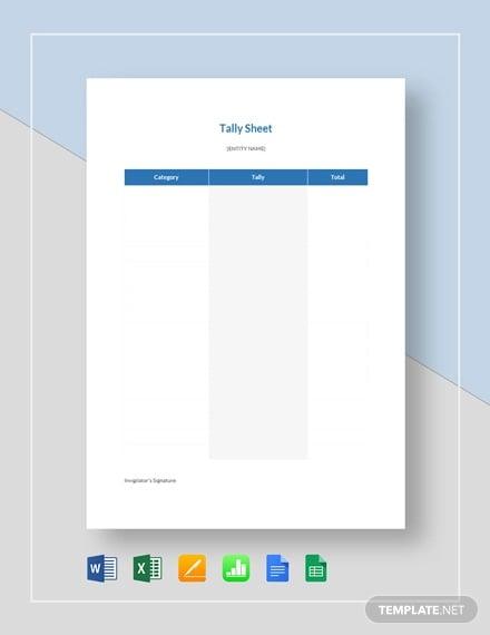 tally sheet template