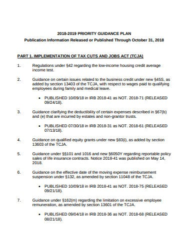 tax priority guidance plan