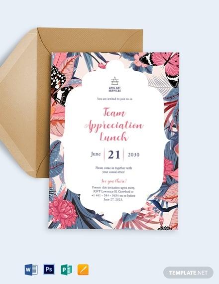 team appreciation lunch invitation template