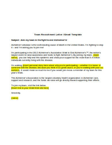 team recruitment letter and email template