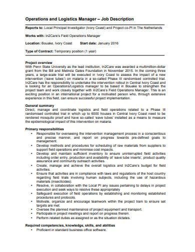 temporary logistics manager job description