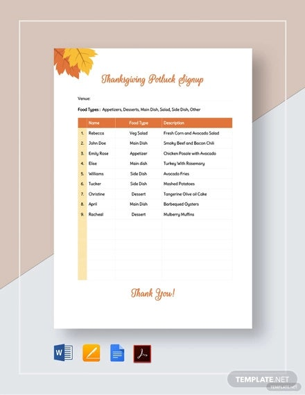 photo relating to Thanksgiving Potluck Sign Up Sheet Printable referred to as Potluck Signup Sheet - 16+ Free of charge PDF, Phrase Data files Obtain