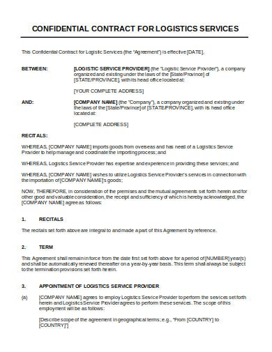 third party confidential logistics contract in doc