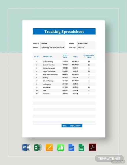 tracking spreadsheet template