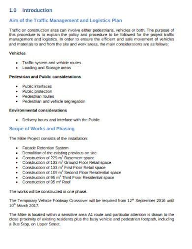 traffic management and logistics plan