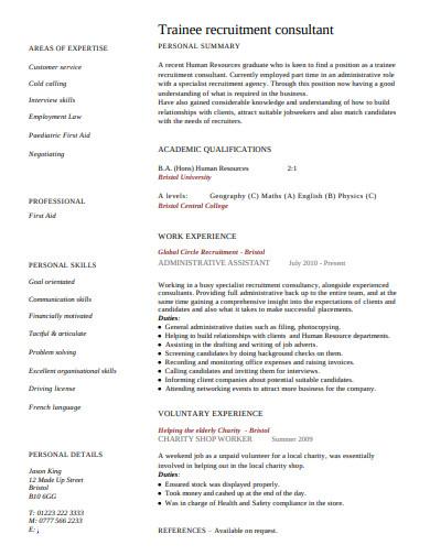 trainee recruitment consultant cv