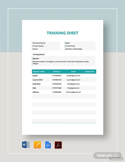 training sheet template