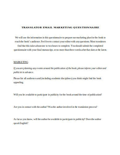 translator email marketing questionnaire template