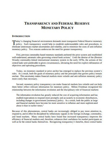 transparency monetary policy template