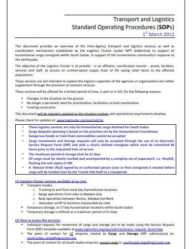 transport and logistics standard operating procedures