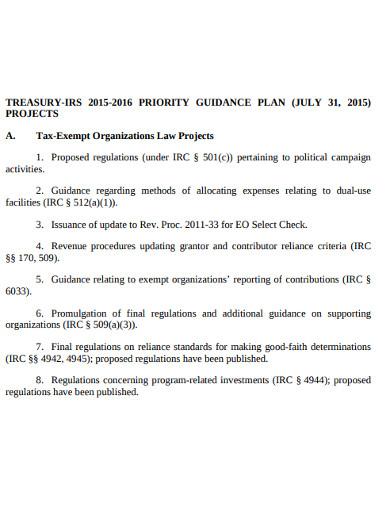 treasury priority guidance plan