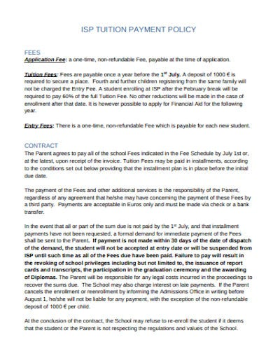 tuition payment policy template