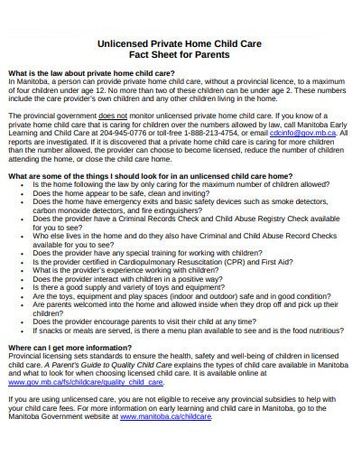 unlicensed child care fact sheet