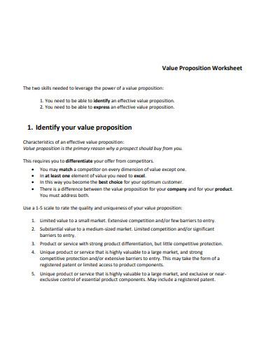 value proposition worksheet template
