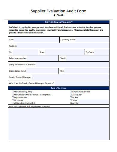 vendor supplier evaluation audit form template