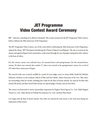 video contest award ceremony program