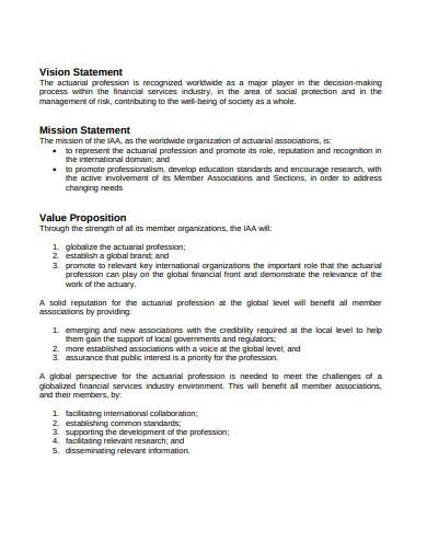 vision statement and mission statement value proposition template