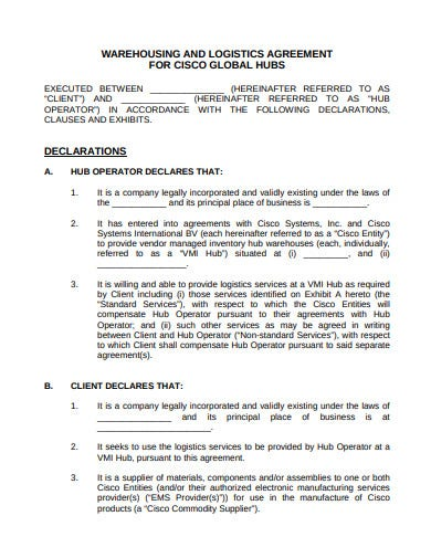 warehousing logistic service agreement