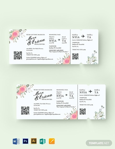 wedding invitation airline ticket template