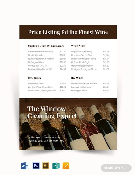 wine price list template