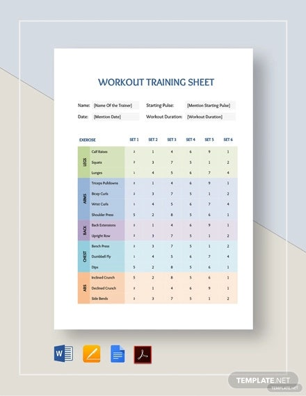 workout training sheet template