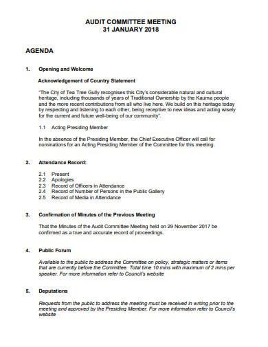 10  audit committee meeting agenda templates in pdf