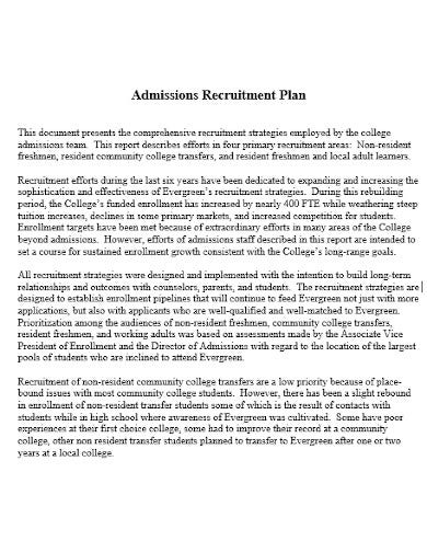 yearly college recruitment plan template