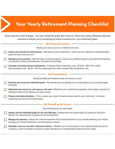 yearly retirement planning checklist template