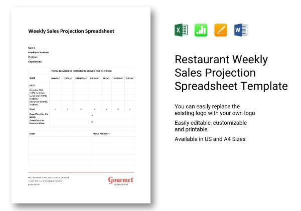 597 weekly sales projection spreadsheet 1
