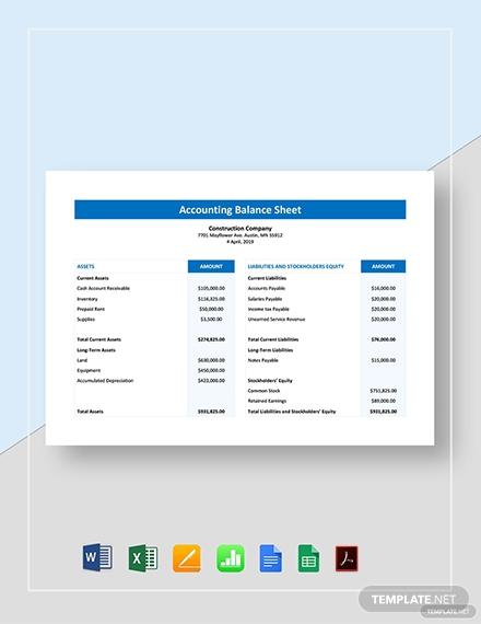 accounting balance sheet 1