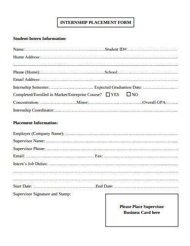 administration internship placement form