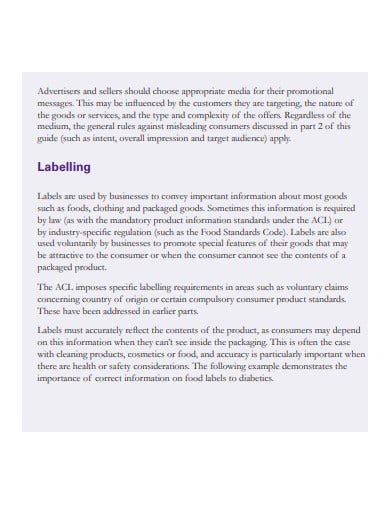 advertising and selling consumer law