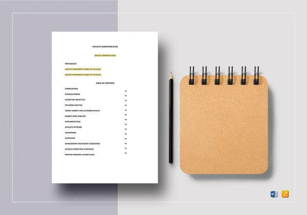 affiliate marketing plan template