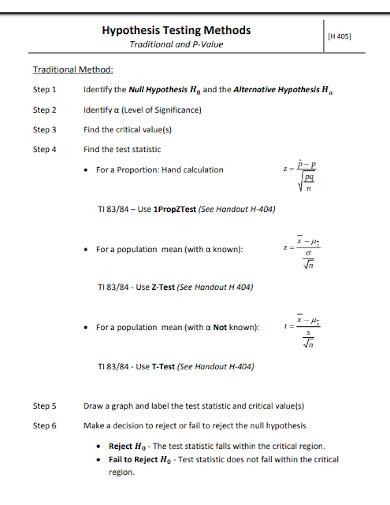 alternative hypothesis testing