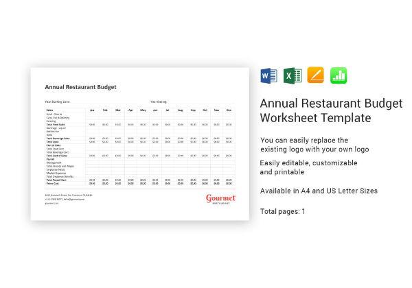 annual restaurant budget worksheet template1
