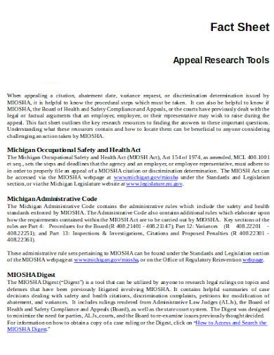 appeal research tool fact sheet template