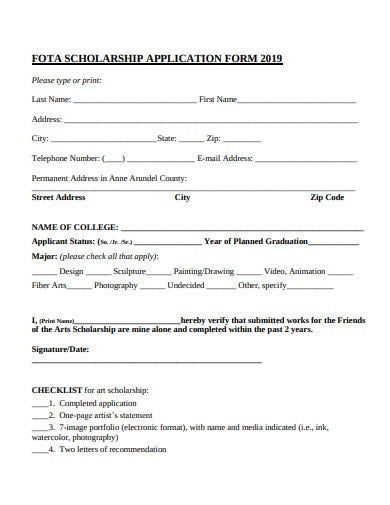 art scholarship requirements and application form