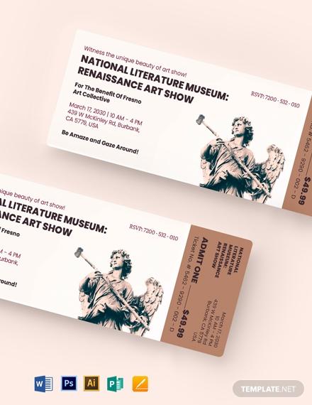 art show event ticket template