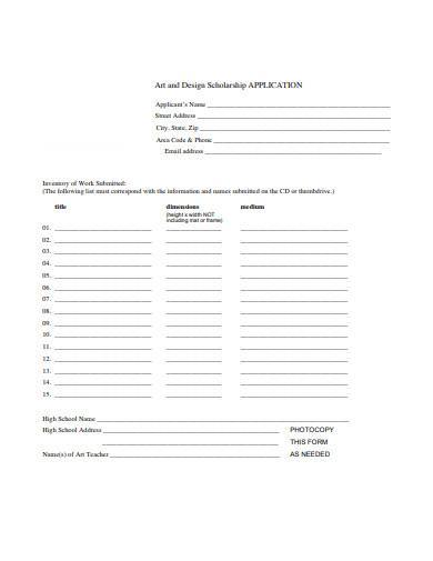 art and design scholarship application