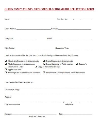arts council scholarship application form