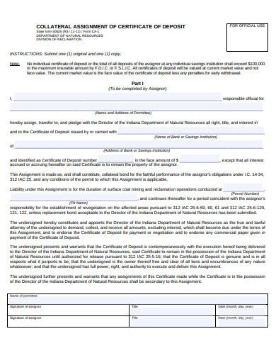 assignment of certificates of deposit