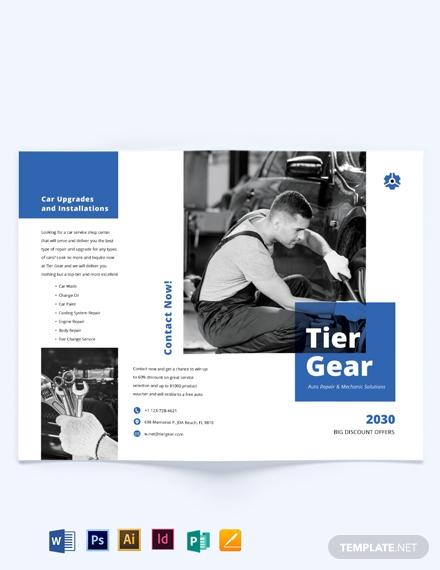 auto repair mechanic bi fold brochure template