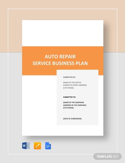auto repair service business plan